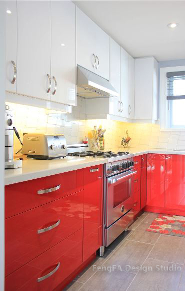 Contemporary Kitchen - Red and White High Gloss Cabinet