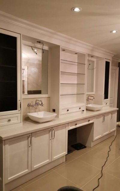 Large Vanity Unit with Duo Sinks and Floating Glass Shelves