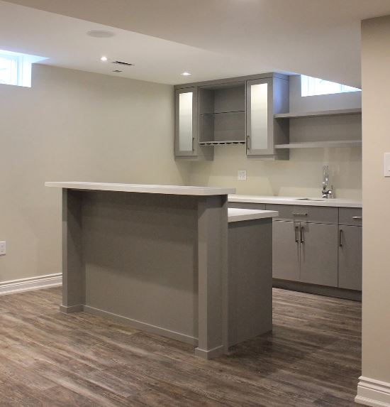 bar and island with white quartz countertop