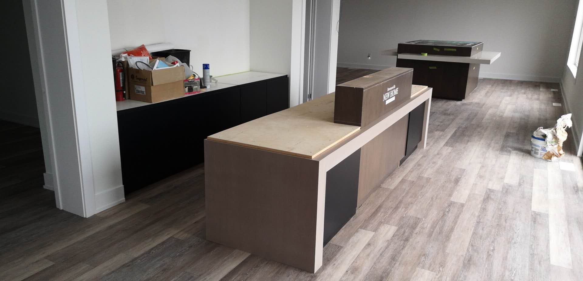 Reception Counter and Between Wall Storage Cabinet