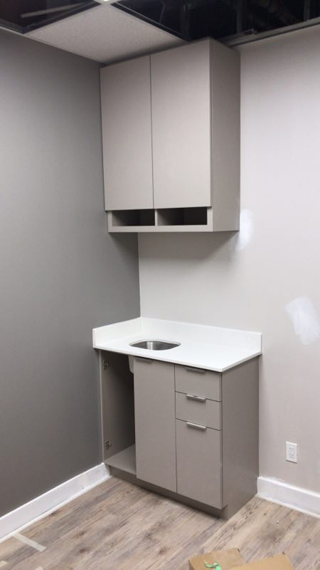 Mini Sink and drawer at base cabinet. Open storage box design at the top.