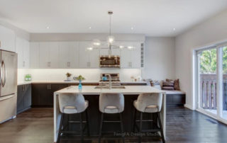 Contemporary Kitchen with Contrast Color Theme and Under the Box Design