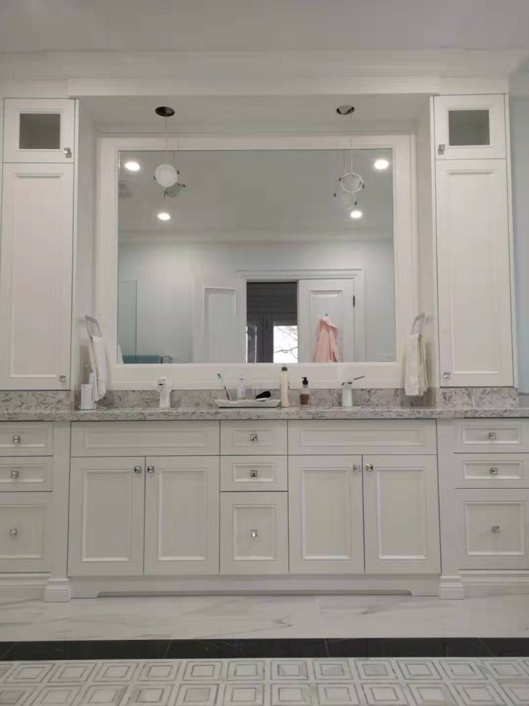 Master Bedroom Vanity With Painted Mdf Doors And Side Duo Tower Cabinets Fengfa Kitchen Cabinets Bathroom Vanities Richmond Hill Markham