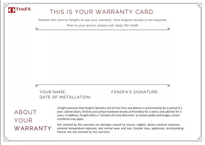 Fengfa warranty